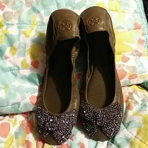 Tory Burch Embellished Leather Ballet Flats 10 M